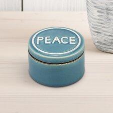 Medium Blue Jem Turquoise Ceramic Peace Trinket Box
