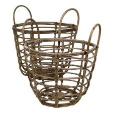 Art of Nature 2 Piece Wicker/Rattan Basket Set