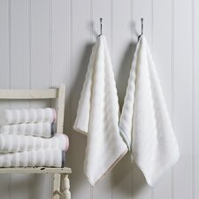 100% Cotton Ribbed Linen Border Hand Towel