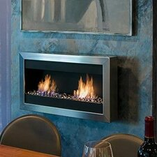 Square Large II Stainless Steel Ventless Wall Mounted Ethanol Fireplace