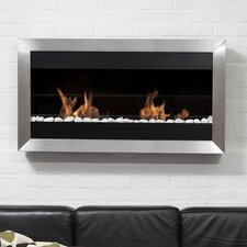 Square Large II Stainless Steel Ventless Wall Mounted Ethanol Fireplace with Safety Glass