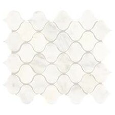"Polished Lantern 2"" x 2"" Marble Mosaic Tile in First Snow Elegance"