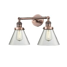 2-Light Glass Cone Wall Sconce