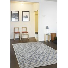 Mikayla Ethnic Diamond Light Navy Area Rug