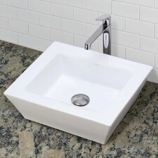 Classically Redefined Ceramic Rectangular Vessel Bathroom Sink with Overflow