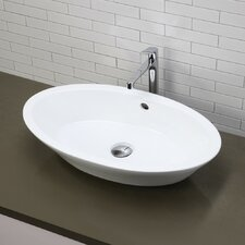 Classically Redefined Oval Vessel Bathroom Sink with Overflow