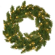 Evergreen Fir Wreath with 100 Clear Indoor/Outdoor Lights