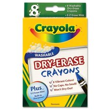 Dry Erase Crayons, Assorted, 8 per Pack (Set of 2)