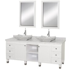 Premiere 72 Double White Bathroom Vanity Set with Mirror by Wyndham Collection