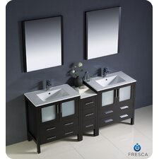 Torino 72 Double Modern Sink Bathroom Vanity Set with Mirror by Fresca