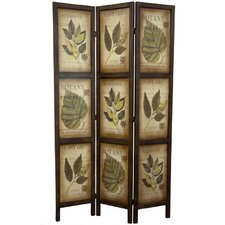 Glenway 71 x 42 Double Sided Botanic Printed 3 Panel Room Divider by Three Posts