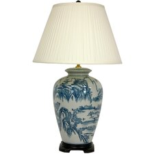 """Chinese Landscape Oriental 29"""" Table Lamp"""