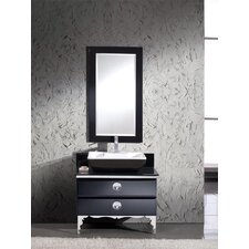 Moselle 36 Single Modern Glass Bathroom Vanity Set with Mirror by Fresca