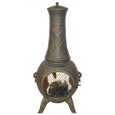 Western Basket Weave Aluminum Wood Burning Chiminea