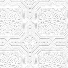 "Paintable 33' x 20.5"" Damask 3D Embossed Wallpaper Roll"