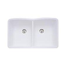 "Diamond 32"" x 19.25"" Equal Double Bowl Undermount Kitchen Sink"