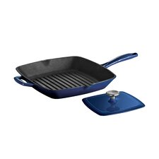 """Gourmet Enameled Cast Iron 11"""" Grill Pan with Press"""