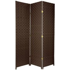 71 Tall Woven Fiber Outdoor All Weather 3 Panel Room Divider by Oriental Furniture