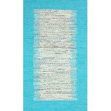 Munegu Talia Rag Hand-Woven Turquoise/Gray Area Rug