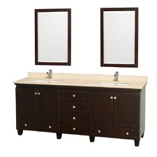 Acclaim 80 Double Espresso Bathroom Vanity Set with Mirror by Wyndham Collection