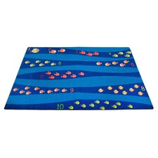 Classroom Blue School of Fish Area Rug