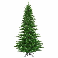 10' Green Fir Artificial Christmas Tree with 1150 Mini Single Colored Lights with Tinsel