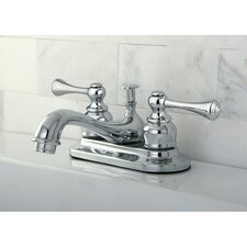 English Vintage Double Handle Centerset Bathroom Sink Faucet with ABS Pop-Up Drain