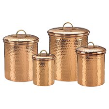 Quick View Hammered 4 Piece Kitchen Canister Set