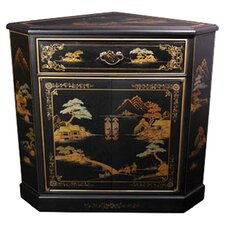 Japanese Crackle Corner Cabinet by Oriental Furniture