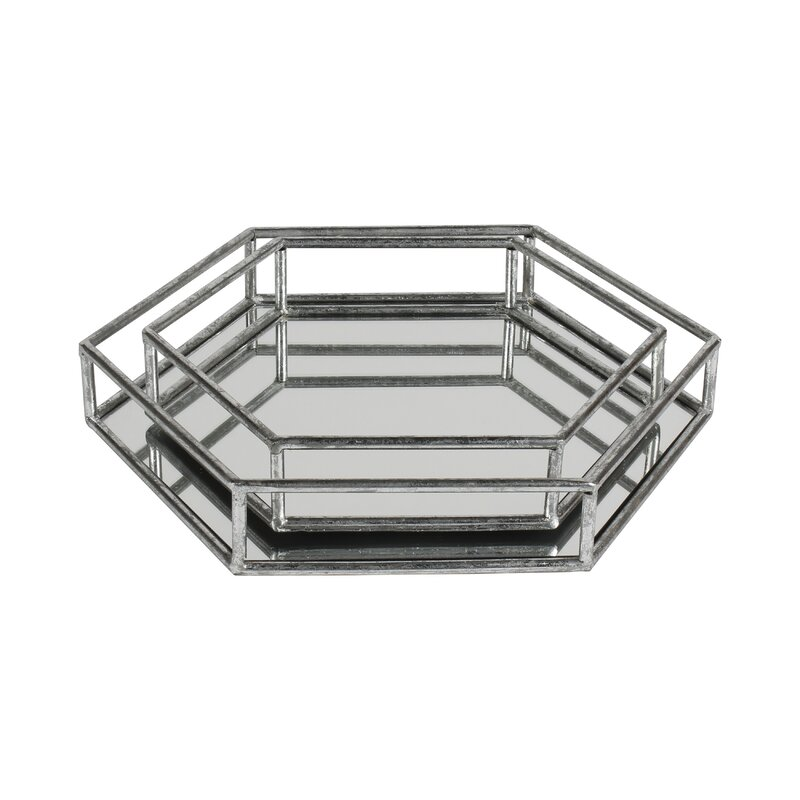 Nesting metal 2 piece mirrored decorative vanity tray set for Decorative bathroom tray
