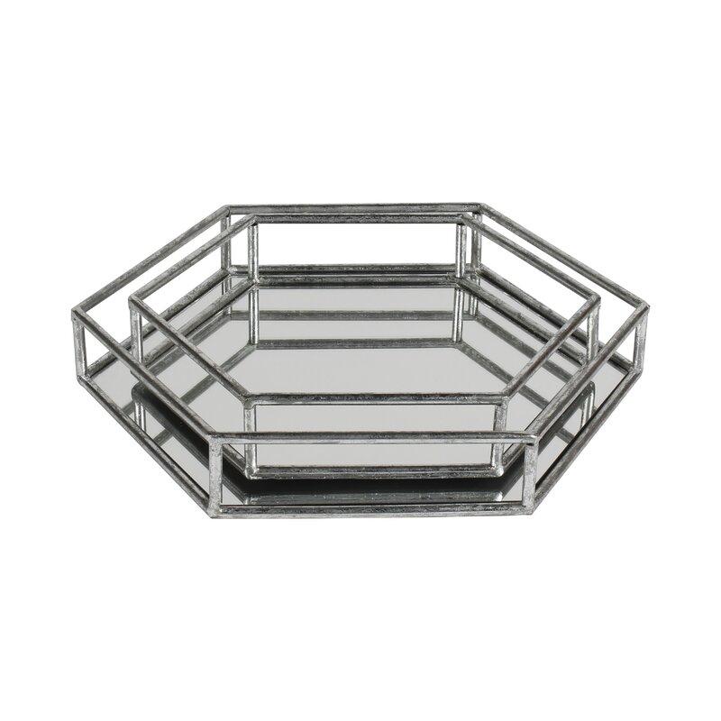 Nesting metal 2 piece mirrored decorative vanity tray set for Bathroom tray set