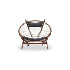 Deloris Mid-Century Modern Hoop Wooden Leather Papasan Chair by Bungalow Rose