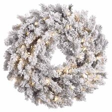 """30"""" Lighted Artificial Flocked Pine Christmas Wreath"""