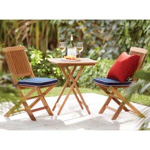 Exceptional Sunny Isles Square Brazilian Eucalyptus 3 Piece Bistro Set