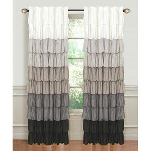 Captivating Flamenco Ruffled Striped Room Darkening Rod Pocket Single Curtain Panel