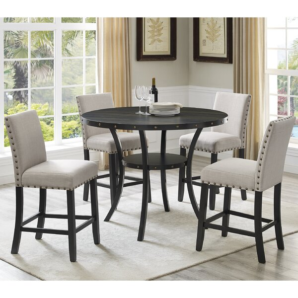 Roundhill Furniture Biony Espresso Wood 5 Piece Dining Set