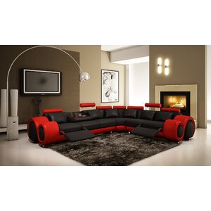 Leather Reclining Sectional by Hokku Designs