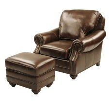 Fairmont Leather Club Chair and Ottoman by Red Barrel Studio