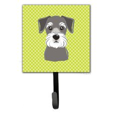 Checkerboard Schnauzer Leash Holder and Wall Hook by Caroline's Treasures