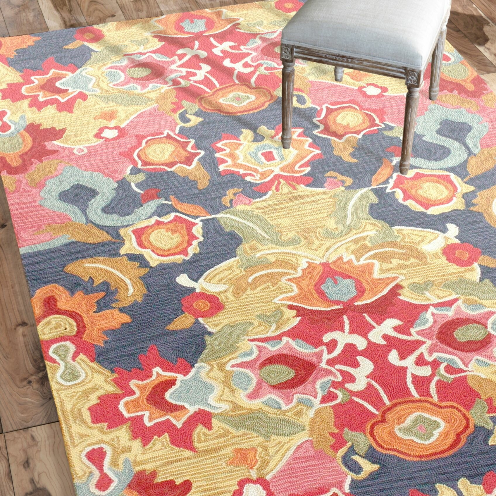 Jean red blue floral hand tufted area rug reviews for Red floral area rug