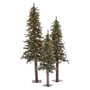 Natural Alpine Green Artificial Christmas Tree With 450 Clear Lights Stand