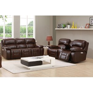 Westminster II Leather Sofa and Loveseat Set by HYDELINE BY AMAX