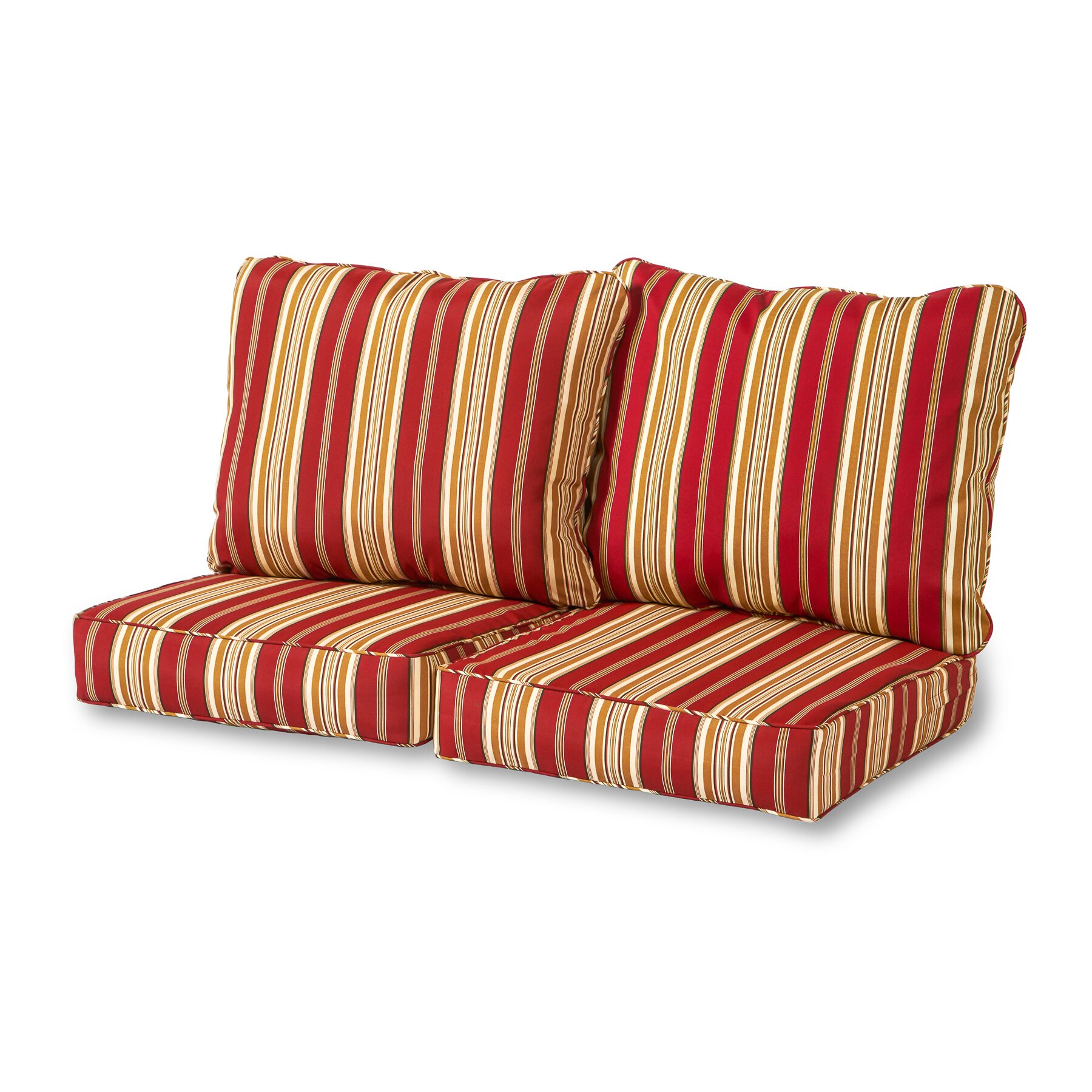 Greendale Home Fashions Roma Stripe 4 Piece Outdoor Loveseat Cushion Set Reviews