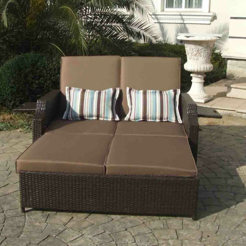 Gazebo Penguin Double Chaise Lounge With Cushions  Reviews Wayfair - Double chaise lounge outdoor furniture