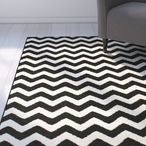 Wonderful Cunningham Chevron White/Black Area Rug