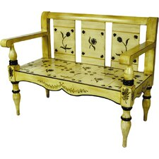 Floral Painted Entryway Bench by AA Importing