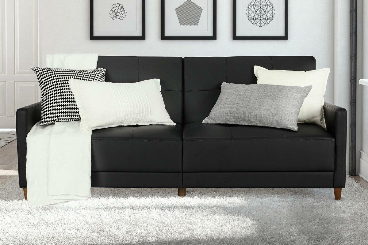 mercury row benitez faux leather convertible sofa  reviews  wayfair - defaultname