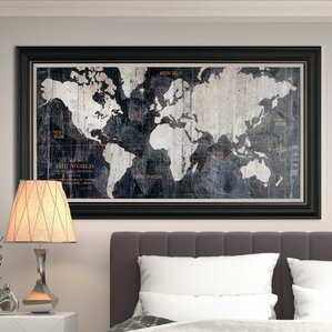 u0027old world map blueu0027 framed graphic art on wrapped canvas u0027
