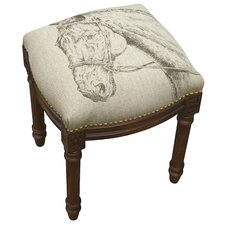 Equestrain Horse Linen Upholstered Wooden Vanity Stool by 123 Creations