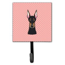 Checkerboard Doberman Leash Holder and Wall Hook by Caroline's Treasures